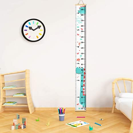 Carousel Home and Gifts Childrens Wooden Wall Mounted Dinosaur Height Growth Chart
