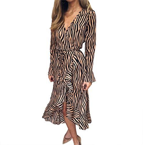 Women's Tiger Pattern Print Mini Tunic Dress Boho Retro Sexy Split Beach Slip Dress JHKUNO -