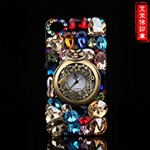 For Samsung Galaxy S4 Case, CaseShell® Fashion Colorful Gem Luxury Rhinestone Bling Retro Pocket Watch Diamond Crystal Jewels Hard Back Cover