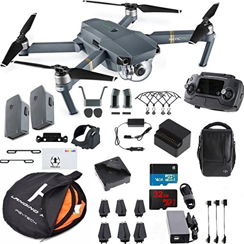 DJI Mavic Pro Fly More Combo Collapsible Quadcopter Drone Bundle with 2 Extra Batteries, Additional Memory Card, Landing Kit and More Accessories by DJI