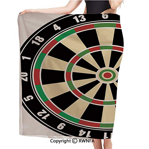 AngelSept Multipurpose Towels,Dart Board Numbers Sports Accuracy Precision Target Leisure Time Graphic,Large Bath Sheet/Beach Towel/Bath Towel,Eco-Friendly,55x28inch,Vermilion Green Black