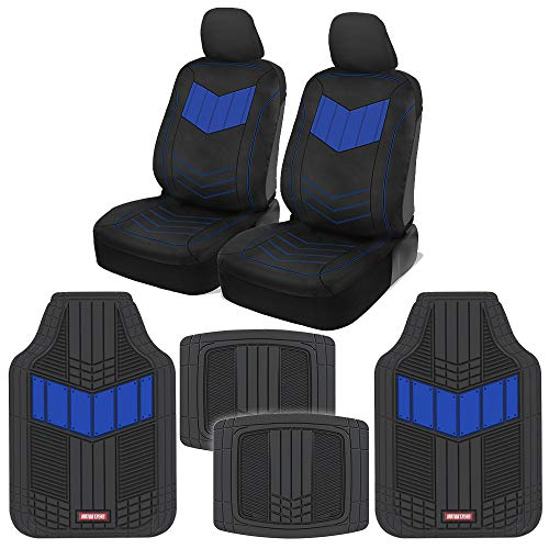 Motor Trend C304 Blue ComfortPlush PU Leather Sideless Seat Covers (Front 2pc) & Heavy-Duty Rubber Floor Set (4pc Mat Combo) for Car Auto (Sedan Truck SUV Minivan)