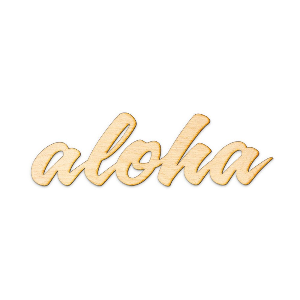 Aloha Wood Sign Home Décor Wall Art Unfinished 18'' x 6'' by Woodums (Image #1)