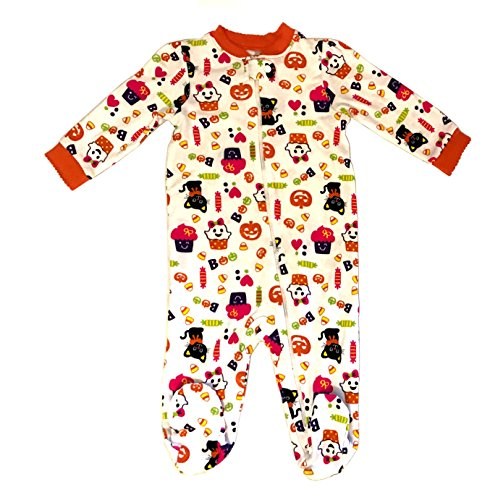 Halloween Pajamas - Baby Girls - Long Sleeve Footed Pajamas - Girls Halloween Cupcakes & Kitty Cats Pajamas - Lots of Sizes (6-9 Months)