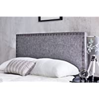Furniture of America Raleigh Upholstery Contemporary Nailhead-Trimmed Indoor Headboard Full/Queen, Gray