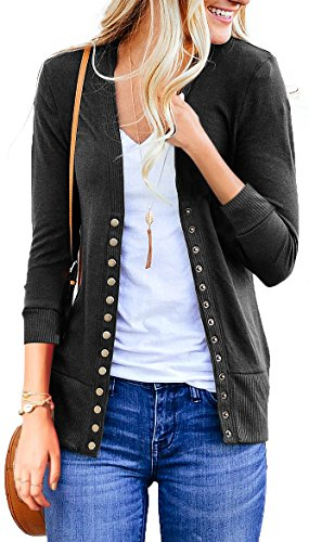 NENONA Women's V-Neck Button Down Knitwear Long Sleeve Soft Basic Knit Snap Cardigan Sweater(Charcoal-3/4 Sleeve-XL) (V-neck Cardigan 3/4 Sleeve)