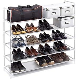 Relaxdays 10019128 Étagère à chaussures meuble souliers bottes étages niveaux 5 niveaux jusqu'à 25 paires maximum…