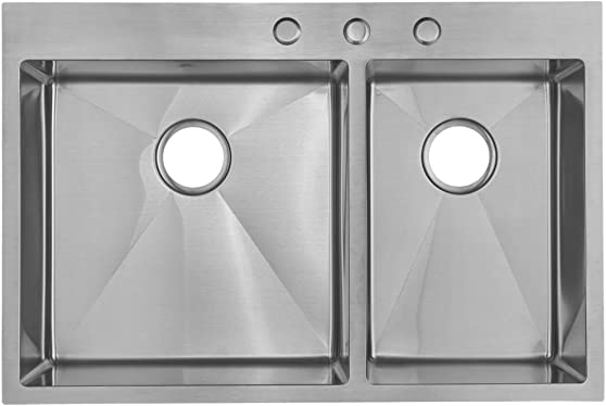 Starstar 33 X 22 Top-mount 60 40 Double Bowl Kitchen Sink Drop-in 304 Stainless Steel 16 Gauge