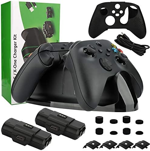 Charging Station Kit for Xbox Series X|S/Xbox one Controller, Dual Charging Dock with 2 Rechargeable Battery Packs, Battery Covers, Charging Cable, Skin and eight Thumb Grip Caps (17 in 1)
