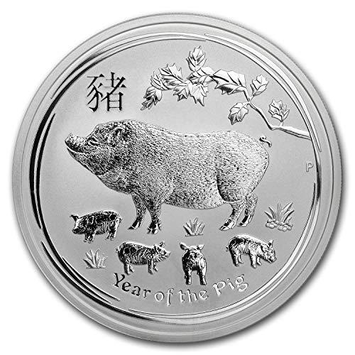Coin Animal Silver Lunar - 2019 AU Australia 5 oz Silver Lunar Pig BU Silver Brilliant Uncirculated