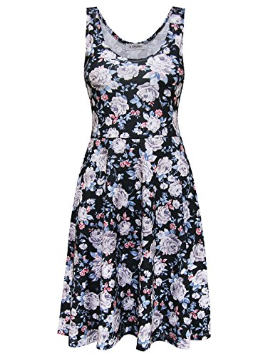 Tom's Ware Womens Casual Fit and Flare Floral Sleeveless