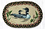 10''x15'' Burgundy/Blue/Gray Loons Oval Small Placemat, Set of 4