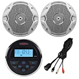 """Jensen MS-3 Gauge Style Marine Yacht ATV Motorcycle Waterproof Stereo Bundle Combo with 2x JBL MS6510 6.5"""" Inch Boat Speakers, Enrock Universal USB / AUX to RCA 10"""" Extension Cable"""