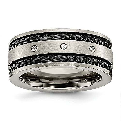 - Titanium Black IP-Plated Cable and Diamonds 10mm Brushed Band Ring 9 Size