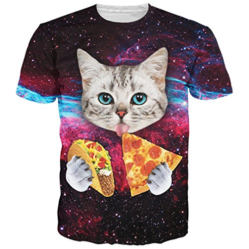 RAISEVERN 3d Galaxy Cat Printed Casual Graphic T Shirts Tees,Pizza Cat10,US X-Small / Asian Medium