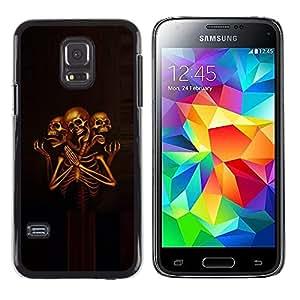 LECELL--Funda protectora / Cubierta / Piel For Samsung Galaxy S5 Mini, SM-G800, NOT S5 REGULAR! -- Grim Death Skeleton Skull Praying --
