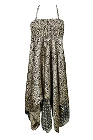 Bohemian Chic Designs Womens 2 in1 Skirt Dress Printed Handkerchief Hem Recycled Silk Two Layer S/M