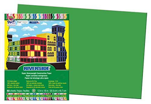 Pacon Construction Paper, 12-Inches by 18-Inches, 50-Count, Green (103620)