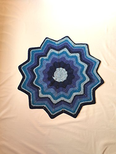 Hand Crocheted Baby Afghan - Twelve Point Star Crocheted Baby Afghan - Handmade - Ascending and Descending Blue - Perfect Gift - Stroller Blanket - Ready to Ship - Blue
