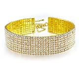 8 Row Rhinestone Stretch Sexy Bling Gold Plated Party Pageant Choker Bridal Wedding
