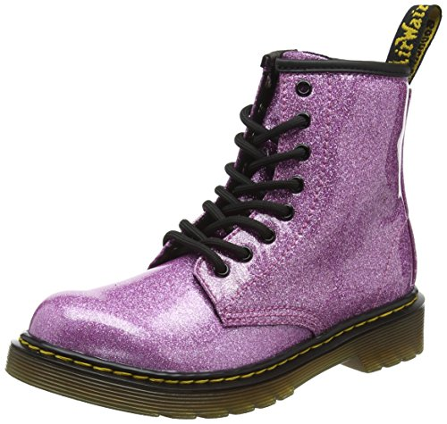 (Dr. Martens Kid's Collection Girl's 1460 Patent Glitter Junior Delaney Boot (Little Kid/Big Kid) Dark Pink Coated Glitter 2 M UK)