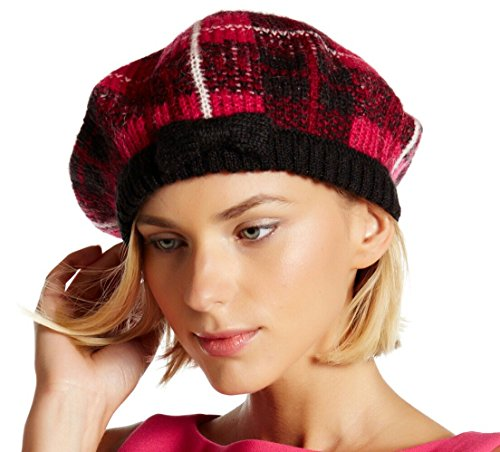 Kate Spade Woodland Plaid Beret, Pink/Black