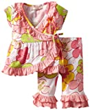Bonne Baby-girls Newborn Short Sleeve 2 Piece Ruffle Trim Kimono Set, Flower Power Pink, 9 Months