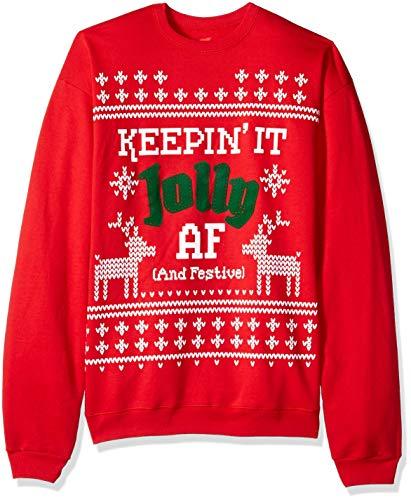 Hanes Hnaes Men's Ugly Christmas Sweatshirt, Best red, Medium
