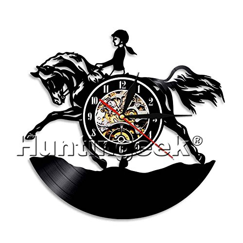Equestrian Time Female Horse Rider Wall Clock Vintage Equestrian Vinyl Record Clock Dressage Racing Horse Contemprary Decorative Clock (Without (0657 Battery)