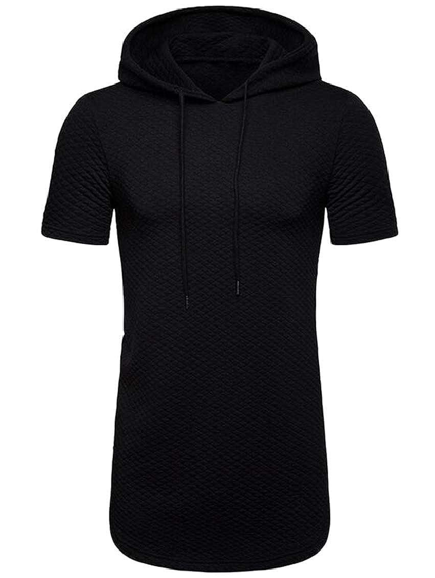 SHOWNO Mens Drawstring Zip-Up Basic Short Sleeve Solid T-Shirts Tops