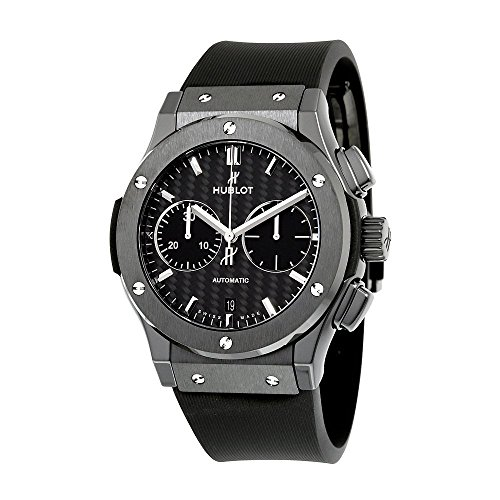 Hublot Classic Fusion Automatic Chronograph Black Magic Matt Carbon Fiber Dial Black Rubber Mens Watch 521.CM.1771.RX