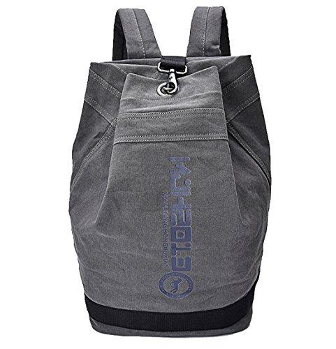 HopeEye Unisex mochila lona casual vintage viaje Gran capacidad Venta Negro 1-gris