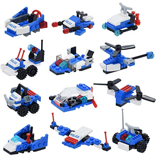 12-in-1 Police Patrol Aircraft Building Blocks Toys, 251 PCs Creative Building Bricks Compatible with Major Brands, Party Favors Supplies/Goodie Bags/Pinata for Kids Girls Boys