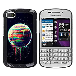 MOBMART Carcasa Funda Case Cover Armor Shell PARA BlackBerry Q10 - Dripping Of The Rainbow Colored Moon