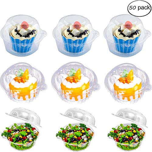 Individual Cupcake Container - Single Compartment Cupcake Carrier Holder Box with Lid Use for Sandwich Hamburgers Fruit Salad Party Favor Cake - Stackable - Deep Dome - Clear Plastic (Pack of 50) (Cupcake Single Carrier)