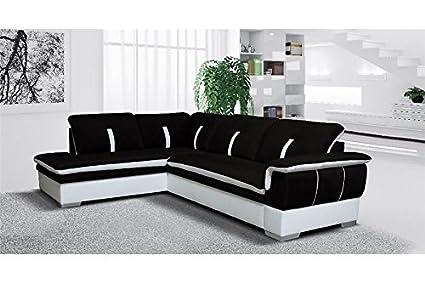 Divano Nero E Bianco : Chloé divano angolare marion tessuto nero e bianco angolo