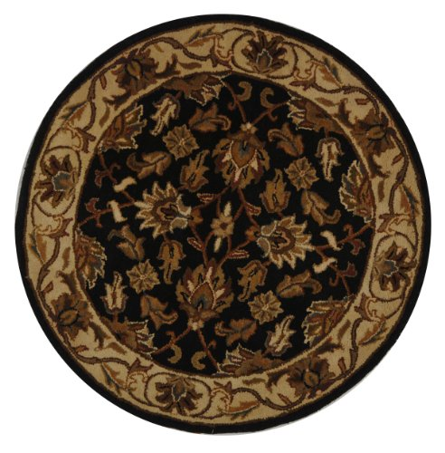 Safavieh Heritage Collection HG628A Handcrafted Traditional Oriental Dark Green and Gold Wool Round Area Rug (8' Diameter) (Handmade Heritage Panels)