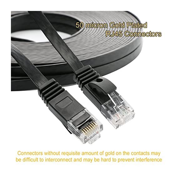 Cat 6 Ethernet Cable 75 ft, Long flat Internet Network Lan patch cord, faster than Cat5e/Cat5, Solid Cat6 High Speed Computer RJ45 Wire for Modem, Router, PS4, Xbox, Switch, Camera, TV box, Hub,Black 3 Bundled with the 20 cable clips, so no need to buy them elsewhere High Performance Cat6,30 AWG,UL Listed,RJ45 Ethernet Patch Cable provides universal connectivity for LAN network components such as PCs,computer servers,printers,routers,switch boxes,network media players,NAS,VoIP phones Cat 6 standard provides performance of up to 250 MHz and is suitable for 10BASE-T,100BASE-TX(Fast Ethernet),1000BASE-T/1000BASE-TX(Gigabit Ethernet)and 10GBASE-T(10-Gigabit Ethernet)