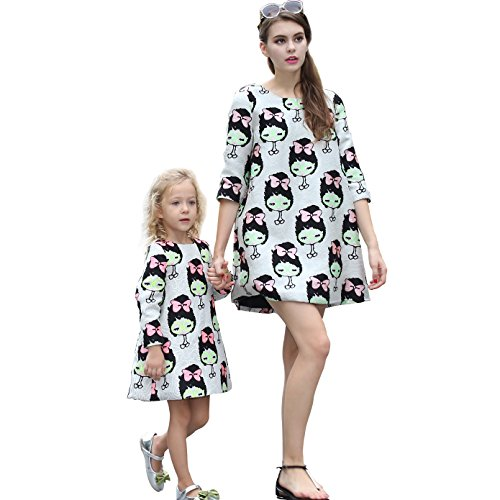 RETEAR Fashion Round Neck Mother and Daughter Matching Dresses Family Clothing Outfits Jacquard Floral - Simple Christmas Outfits Cute