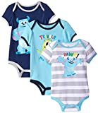 Disney Baby-Boys Monsters Inc Sully Bodysuit, Blue, 0-3 Months (Pack of 3)