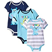 Disney Baby-Boys Monsters Inc Sully Bodysuit, Blue, 6-9 Months (Pack of 3)