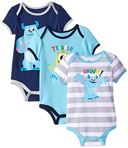 Disney Baby Boys' Monsters Inc. Sully Bodysuit (Pack of 3)