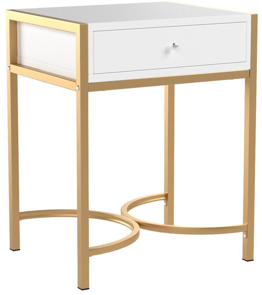 White and Gold Finish Nightstand Side End Table