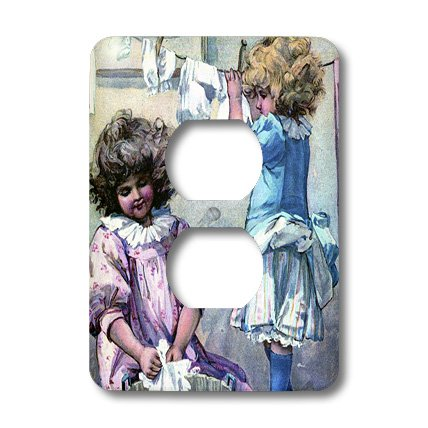 3dRose lsp_34787_6 Two Plug Outlet Cover with Little Girls on Laundry Day
