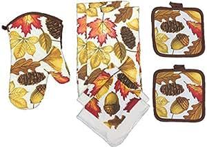 Set of 7, Kitchen Towel Set, 2 Kitchen Towel, 2 Dish Cloths, 2 Pot Holder, 1 Oven Mitt. (Acorn)
