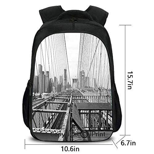 Men and Women Student Backpack,Vintage View of Brooklyn Bridge in New York City Mechanic USA American Print,School Bag :Suitable for Men and Women,School,Travel,Daily use,etc.Black and White