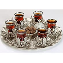 HIGH END Silver plated Tea Service Set for 6 - Additionally Hand Decorated with Swarovski Crystals - Made in Turkey - 21 pieced METAL set including tray and sugar bowl with lid in Gift Box, Silver