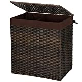 SONGMICS Handwoven Laundry Basket, Synthetic Rattan Divided Clothes Hamper with Lid and Handles, Foldable, Removable Liner Bag, Brown ULCB52BR
