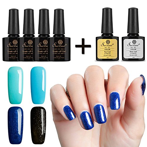 Saviland 4 Pcs Soak Off Gel Nail Polish Sets +Gel Top Coat a
