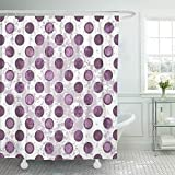 Pink and Purple Polka Dot Shower Curtain Emvency Shower Curtain Set Waterproof Adjustable Polyester Fabric Pink Abstract White Spotty Pattern with Translucent Purple Polka Dots Ball Line 72 x 78 Inches Set with Hooks for Bathroom
